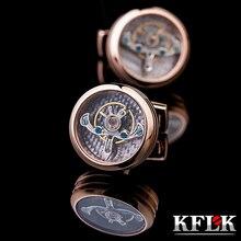 Kflk jóias marca de moda camisas abotoaduras rosa ouro movimento botão casamento luxo masculino alta qualidade convidados
