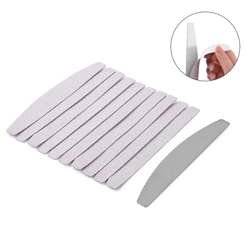 Metal Nail File Handle With 5pcs 180 Grit Sandpaper 5pcs 100 Grit Sandpaper Replacement Disposable Sand Paper Pads Files Supply