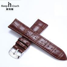 Brown Genuine Leather Watchbands 22mm Waterproof Calfskin 16mm 18mm Watch Straps Silver Buckle Bracelet Black 20mm Watch Band(China)