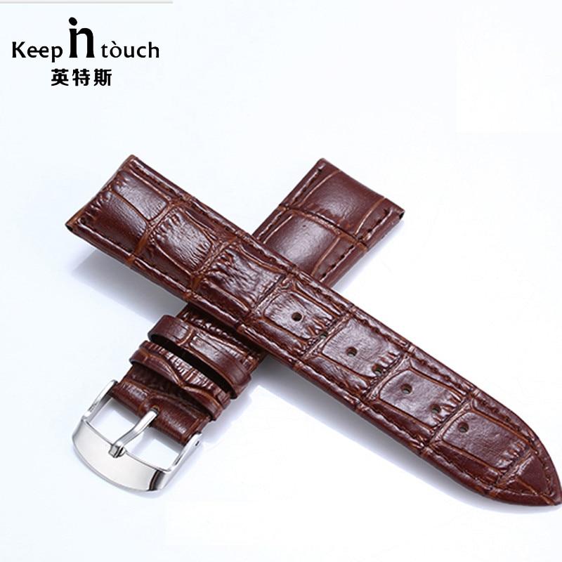 Brown Genuine Leather Watchbands 22mm Waterproof Calfskin 16mm 18mm Watch Straps Silver Buckle Bracelet Black 20mm Watch Band стоимость