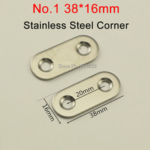 100PCS/Lot Stainless Steel 180 Degree Connector Straight Connecting Bracket 38*16mm Furniture Hardware E250