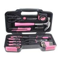 Розовый 39 шт DIY Домашний набор ручных инструментов коробка с жестким чехлом для хранения