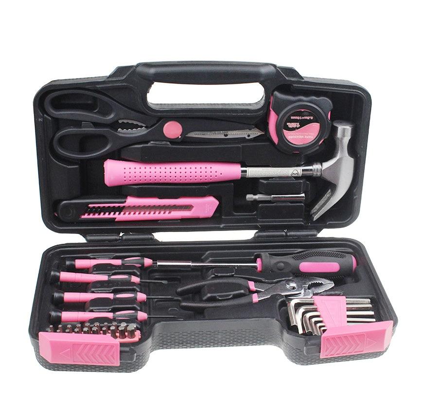 Розовый 39 шт DIY домашний ручной набор инструментов набор коробка с Жесткий Чехол для хранения