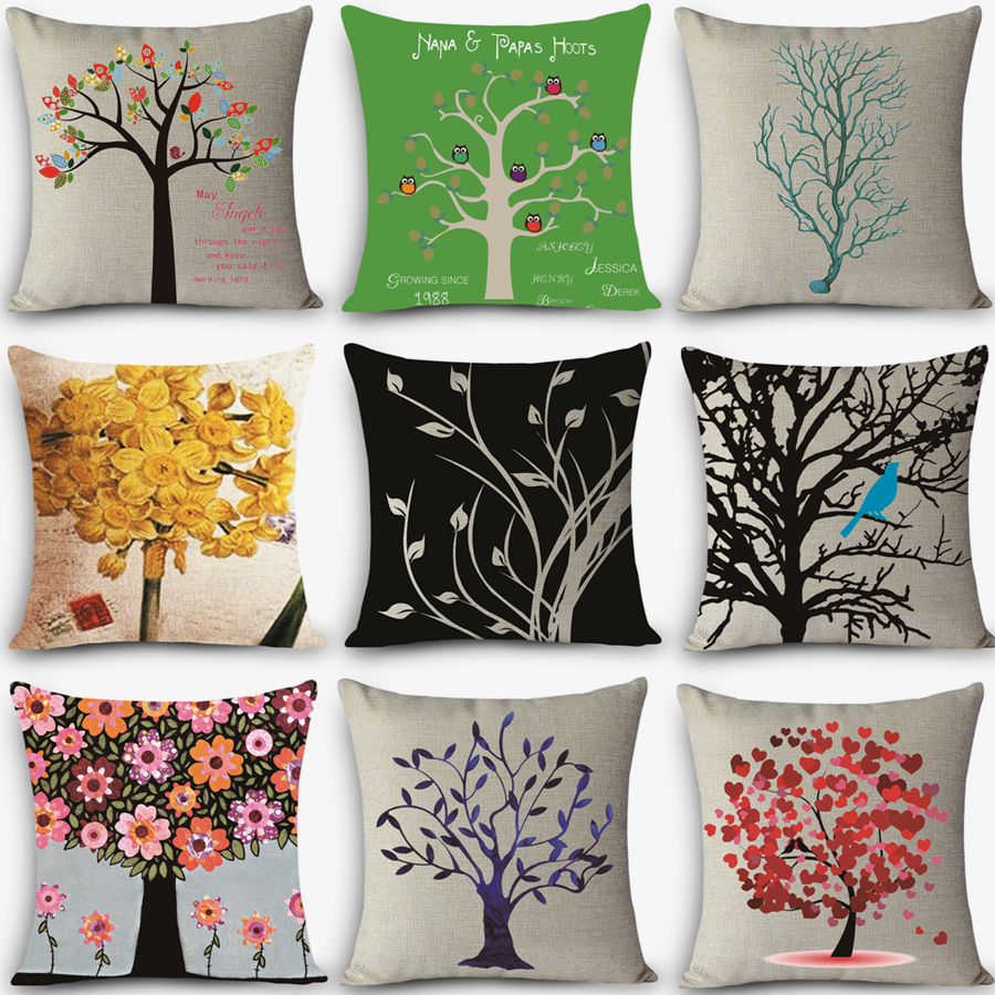High quality home decorative throw pillow customized HD tree Print Home Decorative Cushion Vintage Cotton Linen Square MYJ-G2