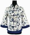 Alta moda azul Vintage mujeres de la chaqueta de algodón de lino flor tradición china Tang traje de gran tamaño sml XL XXL XXXL 4XL 5XL