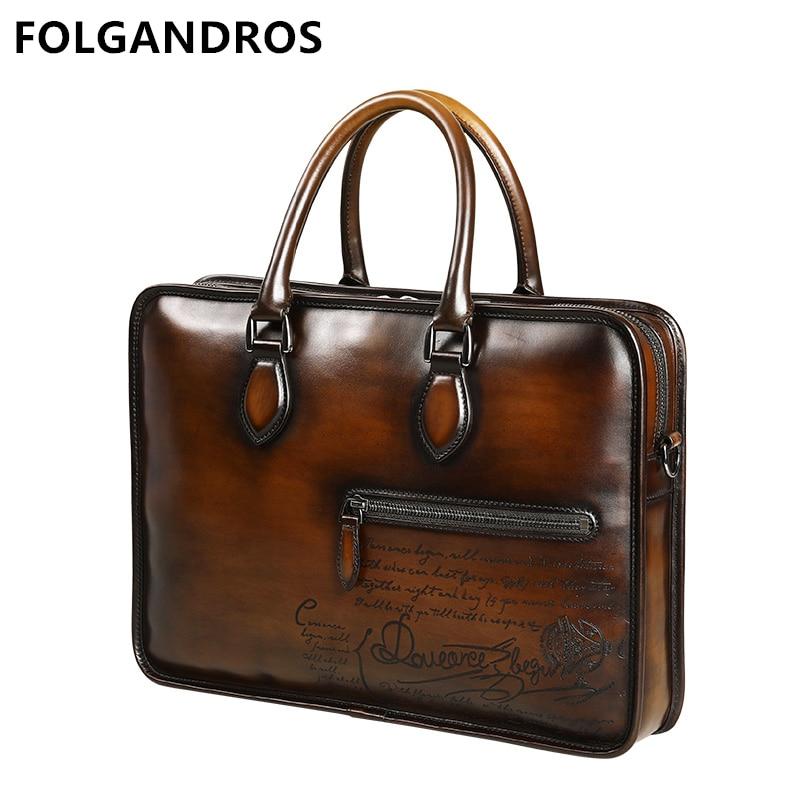 Briefcases French-Designer Genuine-Leather Luxury Gentlemen Bag Business Vintage Men's