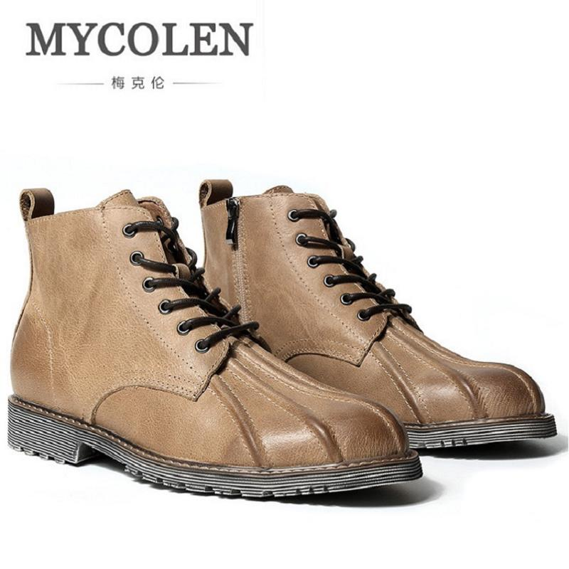 MYCOLEN Mens Leather Ankle Boots Brand Luxury Leather Men Winter Military Boots Casual Lace Up Winter Men Shoes Black