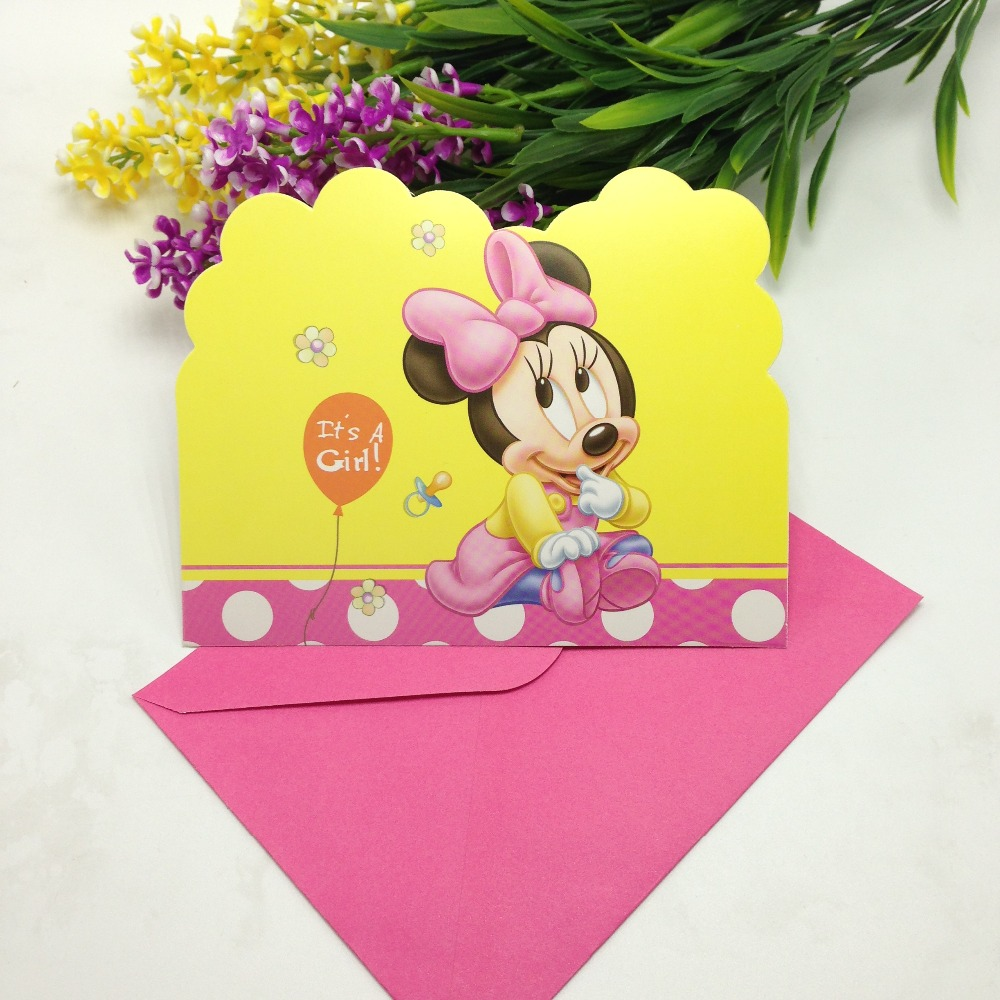 12pcs Cards 12PCS Envelopes Baby Minnie Invitation Card Birthday Party Wedding Decoration Christmas Supply On Aliexpress