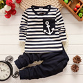 Baby Girls Boys Clothes Autumn Clothing Sets Kids Pants + Top Navy Stripe Kids Clothes Children Tracksuit Roupas infantis menina