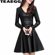 TEAEGG A Line Vestidos Mujer Casual Autumn Winter Dresses Women 2017 Long Sleeve Black PU Leather Dress Women Cloting AL598(China)