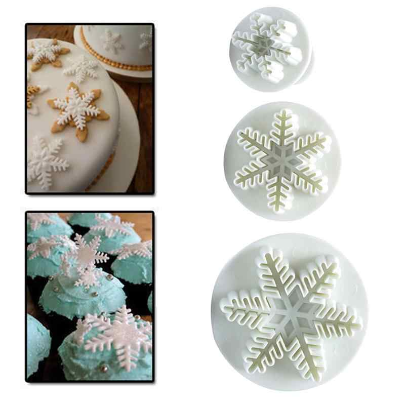 3pcs Snowflake Plunger Mold Sugar Cake Fondant Cookie Cutter Molds Cake Baking Mold Embossed Mold For Cake Decoration Tool