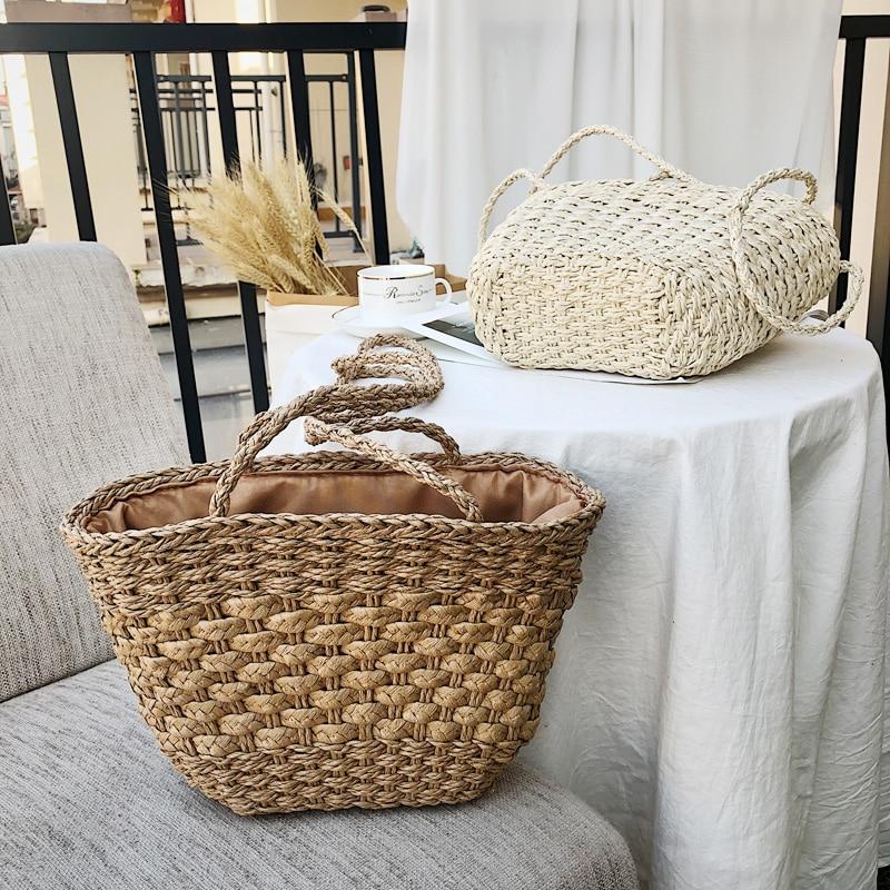 2019 New Solid Color Retro Straw Bag Shoulder Woven Bag Casual Handbag Beach Bag