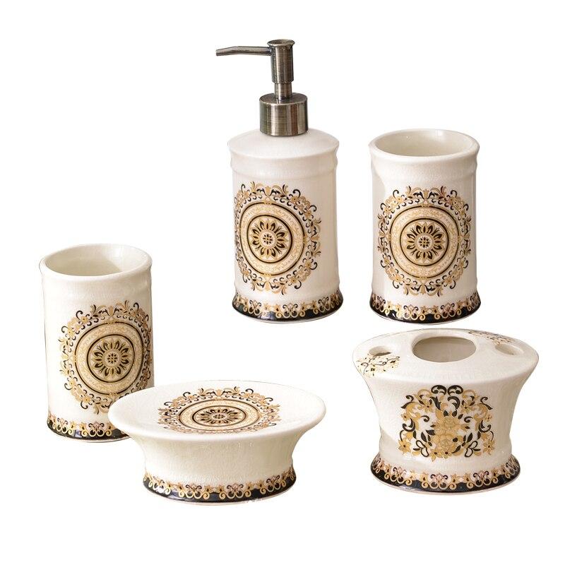 Европейский набор из пяти предметов для ванной комнаты, керамическая чашка для мытья зубов, набор для чистки зубов, Товары для ванной комнат