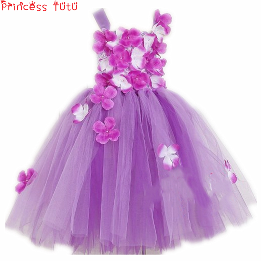 Purple Fairy Flower Tutu Dress Spring Woodland Garden Fairy Dress Christening Dress Kids Girl Birthday Party Flower Dress
