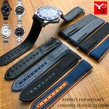19/20/21/22mm High Quality Rubber Silicone Watch Band With Nylon Watch Strap for Longines Omega Seamster Watch Accessories