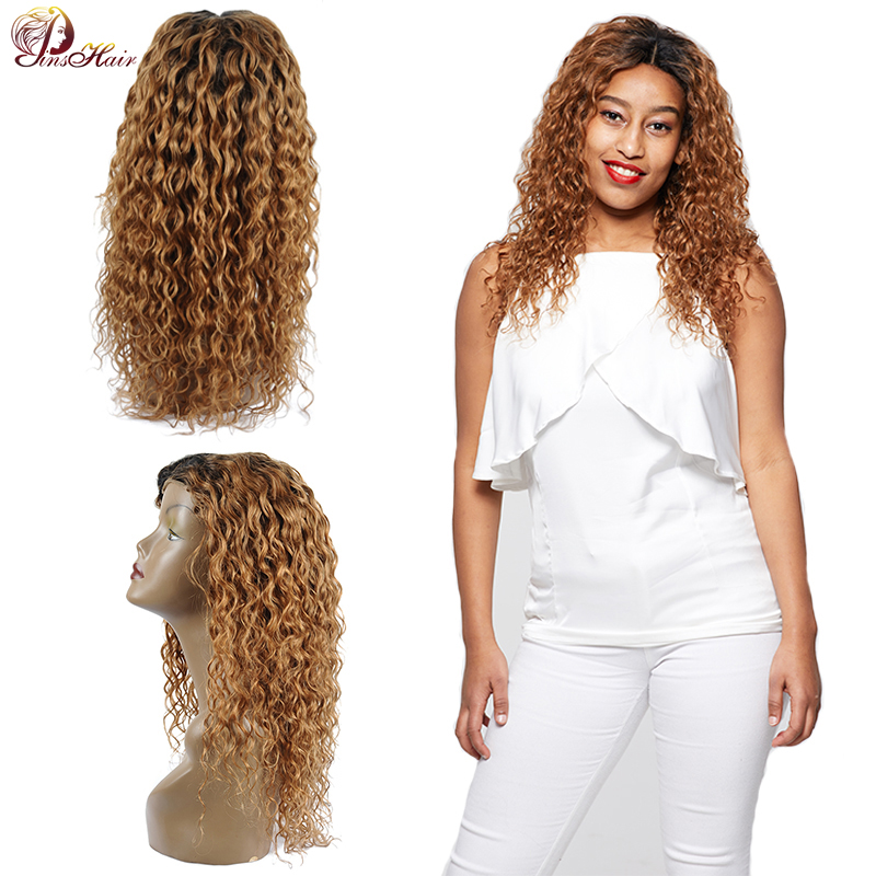 1B 30 Water Wave Wig Blonde Human Hair Lace Front Wigs For Black 150 Density Women Peruvian Hair Wigs 4*4 Closure Thick Remy Wig