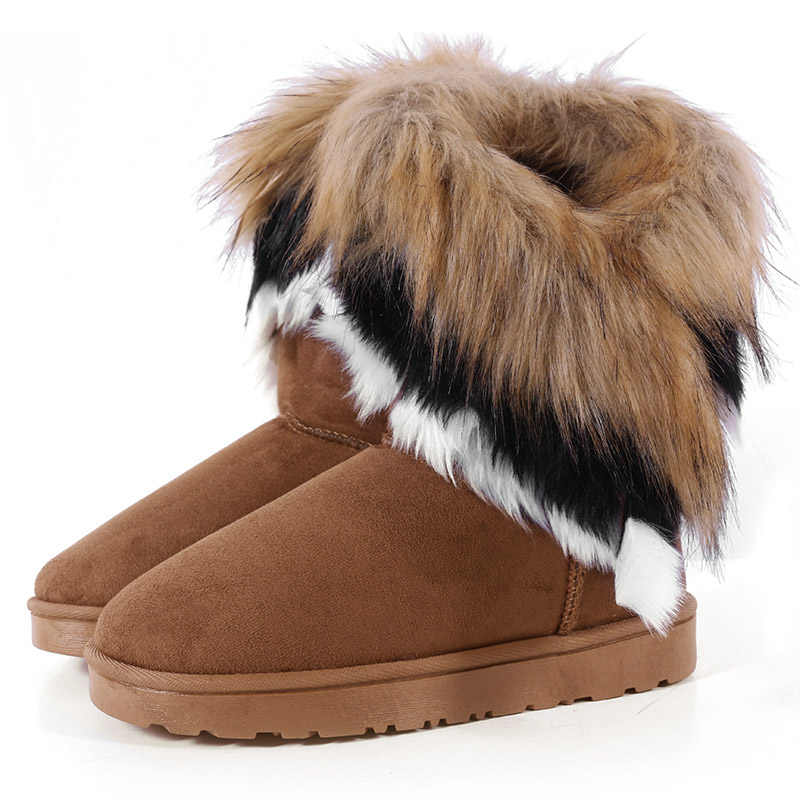 Snow Boots Women Fur Warm Winter Ladies Flat Slip-On Comfort Ankle Boots Female Suede Faux Shoes Fashion Platform Sewing