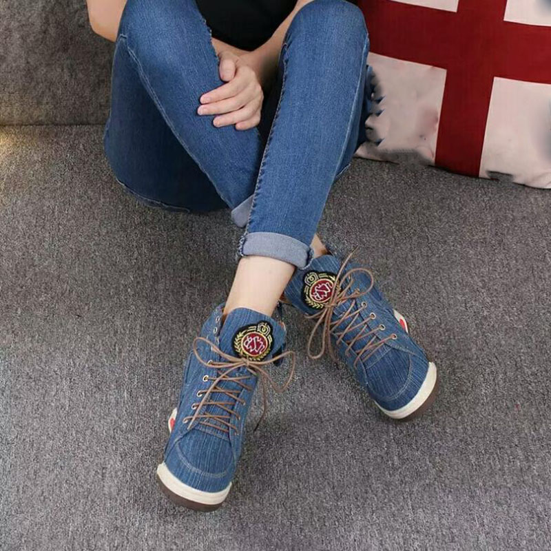 KNCOKA 2018 Summer new style women comfortable wedge heel fashion simple denim canvas fish mouth open toe single shoe