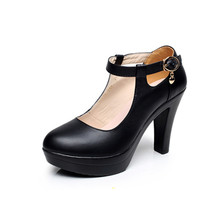 High Quality Genuine Leather Shoe for Women 2016 Platform Mary Jane Shoes Women Pumps OL Office Work Shoes Woman High Heels