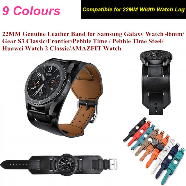 Genuine Leather Band For Samsung Galaxy Watch 46MM 22MM Tour Bracelet Leather St