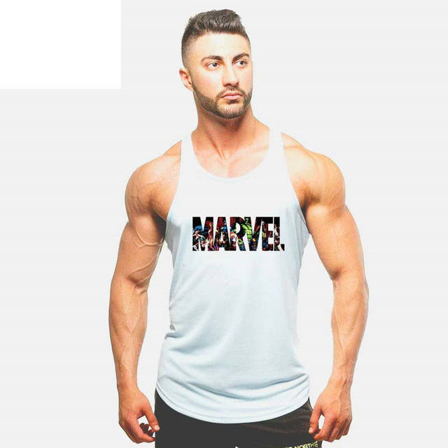 New Summer Fashion Marvel Brand Stringer Tank Top Men Bodybuilding and Fitness Men's Singlets Tank Top Shirts gyms Clothes