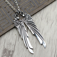 S925 silver personality carved angel wings Pendant Jewelry Silver Necklace Pendant and punk trendsetter
