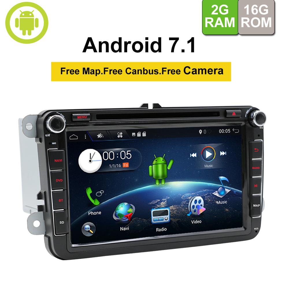 2Din GPS Autoradio 1024*600 Quad Core Android 7.1 Car DVD GPS Navigation For VW GOLF 5 polo Bora JETTA MK4 B6 Tiguan SKODA цены