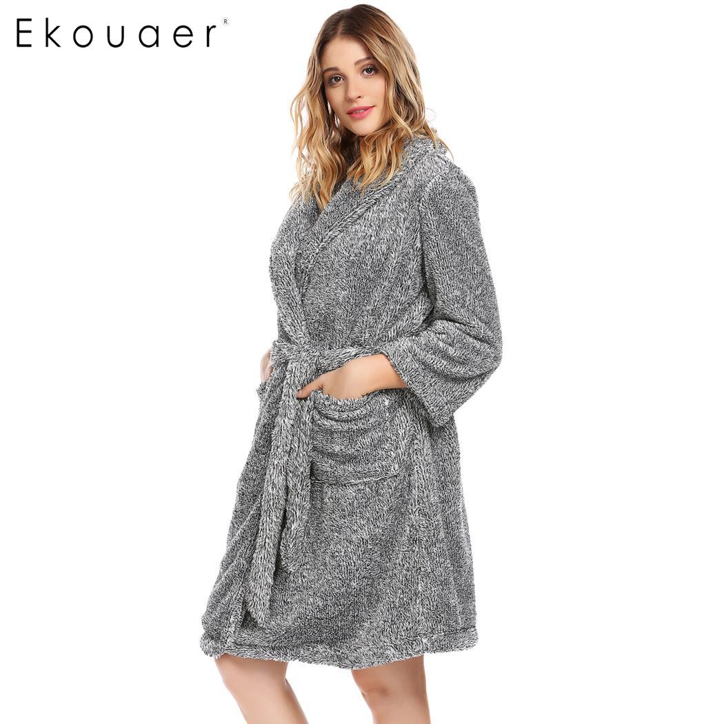 Ekouaer Winter Robes Women Kimono Plush Bathrobe Long Sleeve Shawl Collar  Sleepwear Spa Robe Soft Bridesmaid Robe Warm Nightwear 69f922570