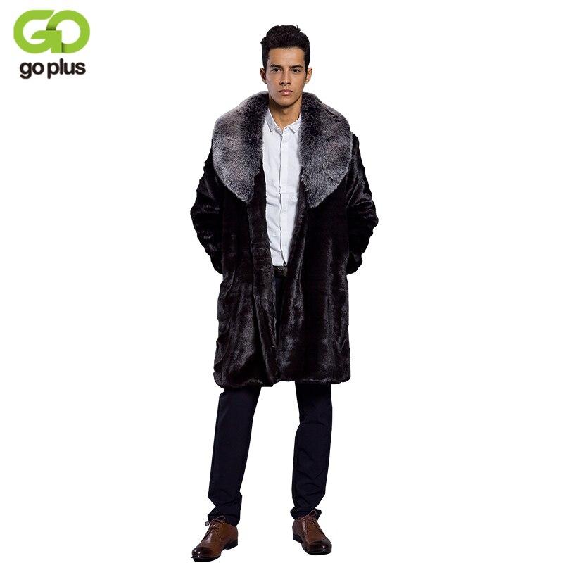 8e7f31055b8d GOPLUS Long Faux Fur Coats Men 2019 Spring Winter Fox Fur Collar Fashion  Thickening Plus Size Jackets Warm Black Fake Fur Jacket