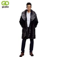 GOPLUS Mens Long Faux Fur Coats Winter Fox Fur Collar Fashion Thickening Plus Size Jackets Warm