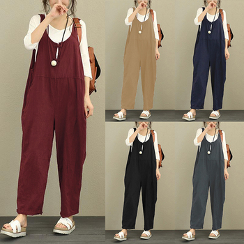 Celmia Women Jumpsuit 2018 Summer Autumn Cotton Linen Romper Casual Sleeveless Solid Loose Trousers Long Pants Plus Size Overall