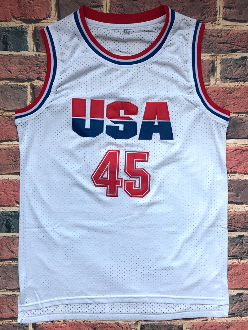 6d3399d1bd9 Donald Trump 45 USA Basketball Jersey White 2016 all stitched Commemorative  Edition