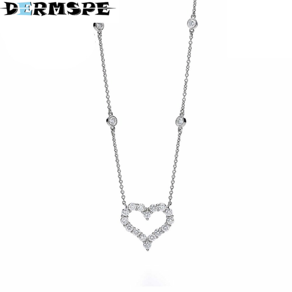 DERMSPE Heart Necklace Heart-Shaped Pendant TIFF 925 Sterling Silver Pendant Necklace Nature Fashion Joker Jewelry Package Mail