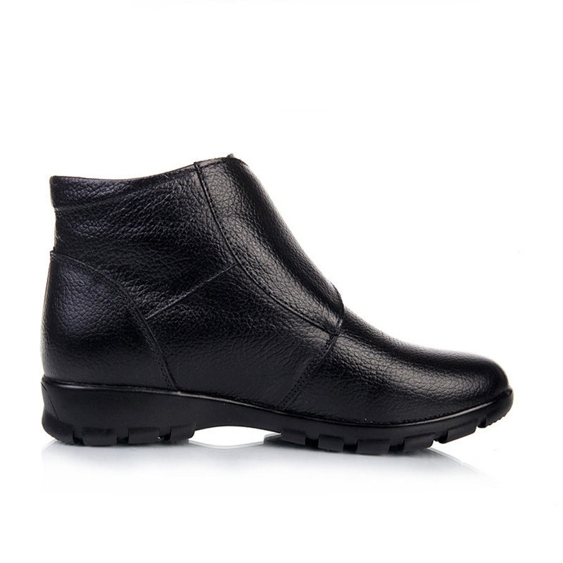 MVVJKE   Plus Size Winter Women Shoes Woman Genuine Leather Flat Ankle Boots 2017 Fashion Warm Snow Boots Women Boots