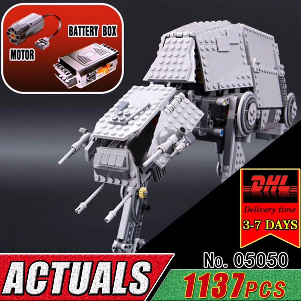 DHL LEPIN 05050 Star Series AT Robot Electric Remote Controlled Compatible 75054 Building Bricks Block Child Military War RC Toy dhl lepin 05055 star series military war the rogue one usc vader tie advanced fighter compatible 10175 building bricks block toy