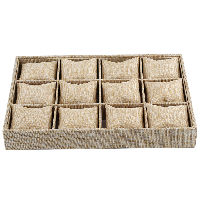 12 Slots Pillow Style Jewelry Watch Bracelet Display Tray Box Necklace Earring Container Bo Case
