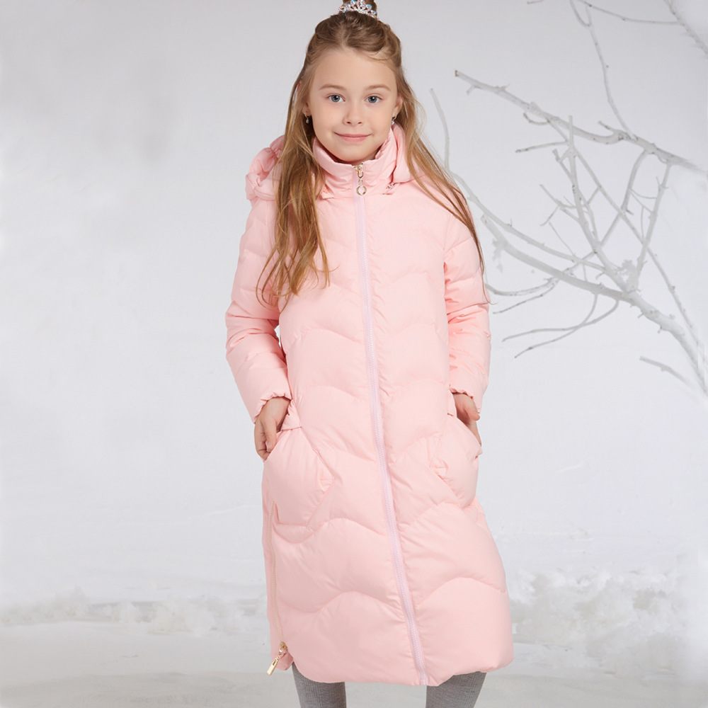 Sweet Pink Girls Winter Jackets X-long Thicken Warm Kids Girls Winter Clothing 80% White Duck Down Coats ag2 8 10 12 14 years fancytrader new style giant plush stuffed kids toys lovely rubber duck 39 100cm yellow rubber duck free shipping ft90122