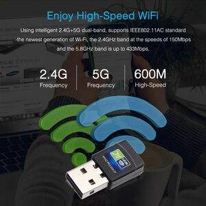 Image 4 - USB واي فاي محول 600Mbps بطاقة الشبكة اللاسلكية إيثرنت انتينا جهاز استقبال واي فاي USB LAN التيار المتناوب المزدوج الفرقة 2.4G 5GHz للكمبيوتر واي فاي دونغل