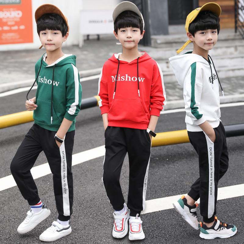 FYH Autumn Spring Kids Clothes Big Boys Clothing Set 2pcs Boys Tracksuit Children Casual Hooded Sweatshirt+Pants Boys Costume adult christmas santa claus costumes flocking rabbit fur fancy cosplay santa claus clothes good quality costume christmas suit
