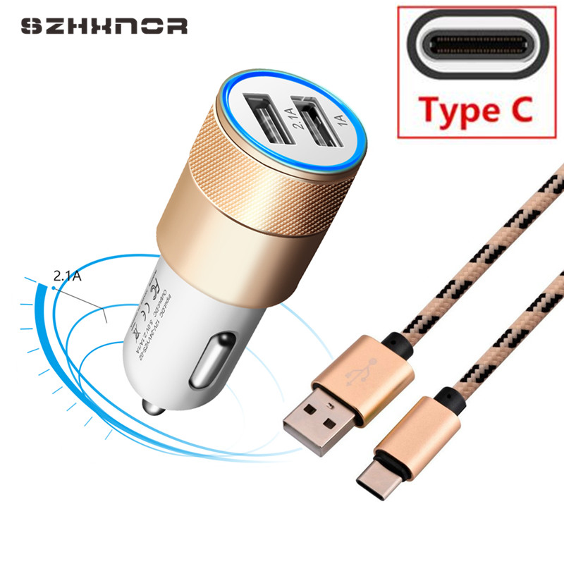 2 Port Mini Dual Usb Car Charger & Type C Cable For Oneplus 6 5t 3t Huawei P20 Lite Htc U12+ U11 10 Evo One 10 U Ultra Play D