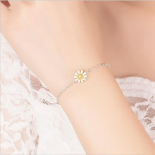 TJP Pure 925 Silver Female Bracelets Jewelry Fashion Girl Daisy Bangles For Women Party Accessories