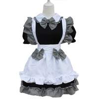 Classical Lolita Princess Maid Dress with Bowknot Apron Maid Cosplay Costume Dress for Women