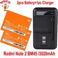 1 lote = 1 pc carregador universal dock + 2 pcs para xiaomi redmi note 2 bm45 3020 mah da bateria de substituição original hongmi nota 2 bateria