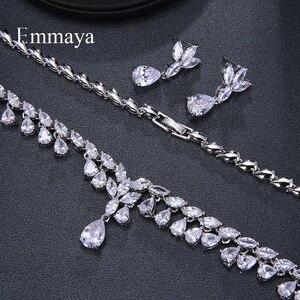 Image 2 - Emmaya Luxury Sparking Brilliant Cubic Zircon Drop Earring Necklace Jewelry Set Wedding Bridal Dress Accessories Party
