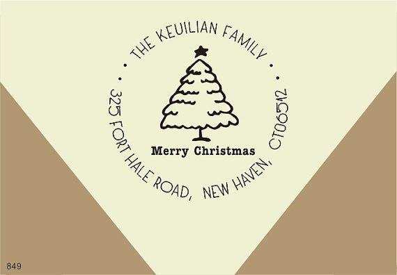 Arbre de noël adresse de retour timbre Personnalisé famille nom Timbre signe vos Cartes De Noël Joyeux Noël En Caoutchouc Timbre 1.8x1.8 pouces dans Timbres de Bureau et des Fournitures Scolaires