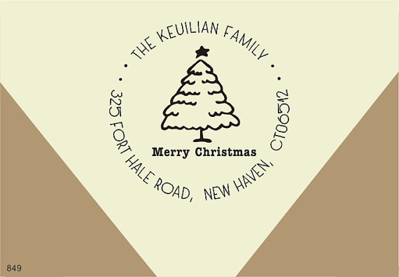 Christmas Tree Return Address Stamp Custom Family Name Sign Your Cards Merry Rubber