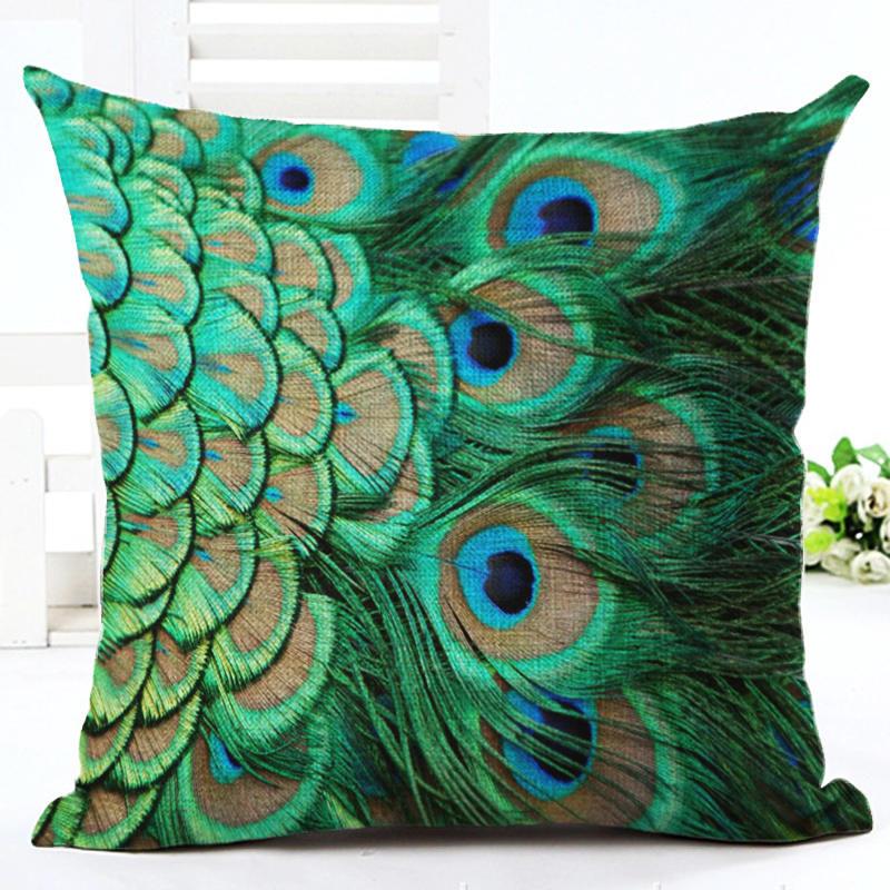 cotton linen peacock pillowcase geometric decor throw home cover pillows decorative pillow cushion dp blue
