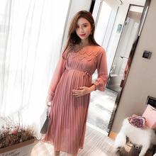 Nieuwe Mode Moederschap Jurken Lente Herfst Lange Zwangerschap Jurken Voor Zwangere Vrouwen Jurk Toevallige Moederschap Kleding Plus Size
