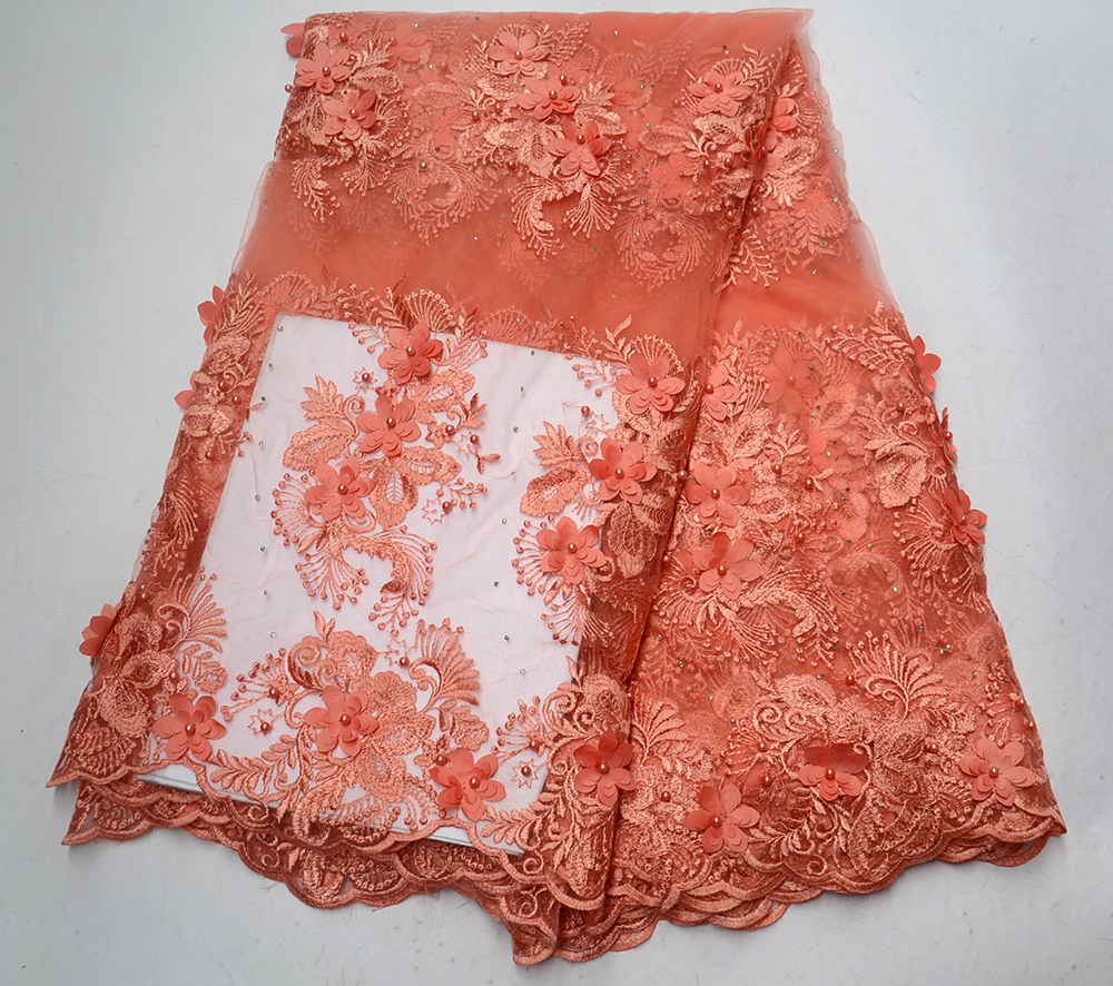 2019 Latest Most popular Embroidery Mesh Tulle Lace Fabric With Stones And Beads Nigeria Peach color Net Lace For Party Dress2019 Latest Most popular Embroidery Mesh Tulle Lace Fabric With Stones And Beads Nigeria Peach color Net Lace For Party Dress