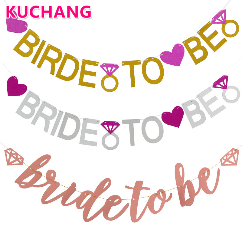 1set Bride To Be Happy Wedding Signs Banner Bachelorette Party Photo